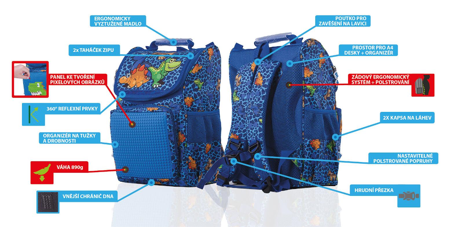 Výhody oblíbeného chlapeckého školního batohu / aktovky s dinosaury od PIXIE CREW