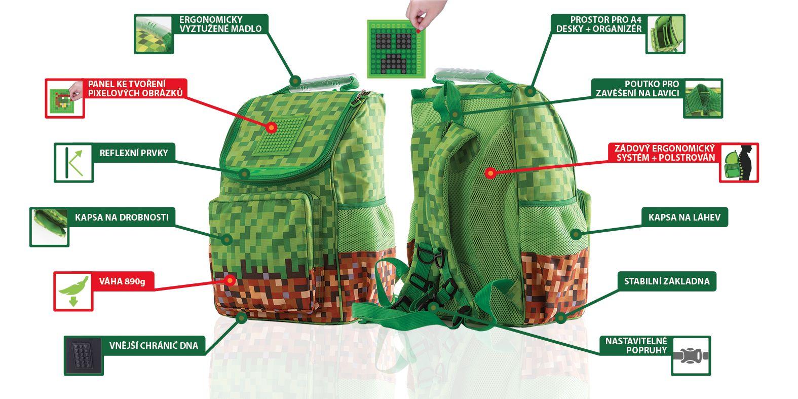 Výhody Minecraft batohu PIXIE CREW pro prvňáky a žáky 1. stupně ZŠ